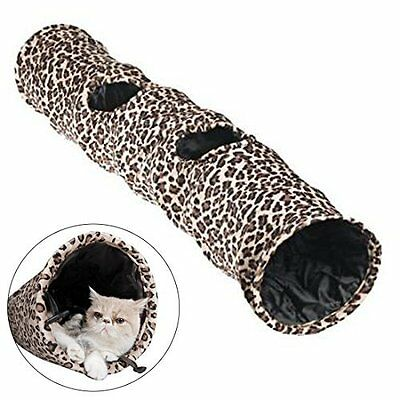 Cat Toy Game Tunnel with Holes Lightweight Collapsible Durable Faux Anti Scratch