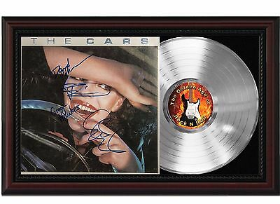 The Cars - Platinum LP Record With Reprinted Autographs In Cherry Wood Frame