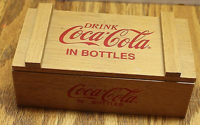 """drink Coca-Cola In Bottles Miniature Wood Box With Lid 6"" X 3"" X 2"" Vgc"