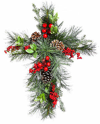 Cypress Home Holly and Pinecone Wall Hanging Floral Decor