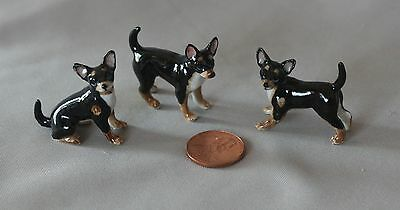 Black & Tan Chihuahua Dogs family of 3 - bone china miniature ceramic animals