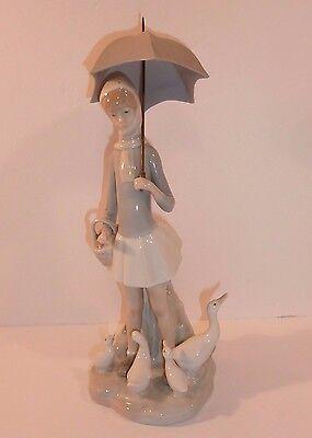 "LLADRO Girl with Umbrella & Ducks Geese Figurine #4510 10.5"" h Handmade in Spain"