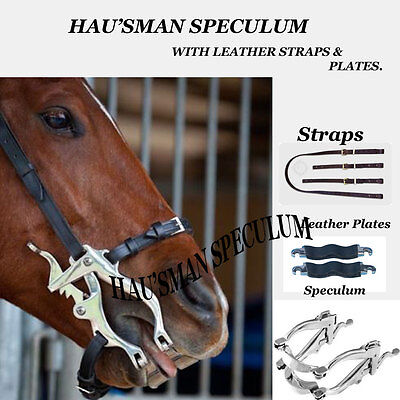 Equine Dental Speculum Horse Mouth Gag Stainless Steel Leather McPherson Forged