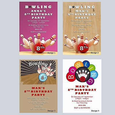 Bowling Party Invitations Personalised Birthday Invites Boys Girls