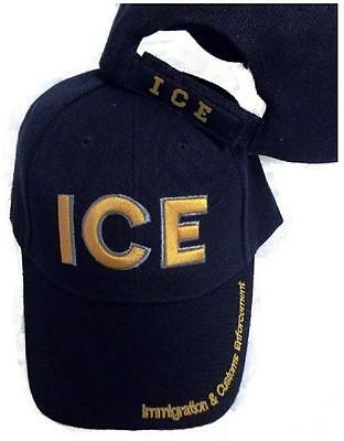 ICE IMMIGRATION CUSTOMS ENFORCEMENT EMBROIDERED HAT black gold baseball cap usa