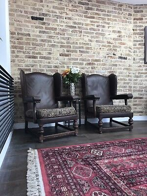 Pair Of Lovely Vintage French Leather Armchairs