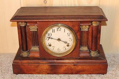 Antique Waterbury 8 Day Mantle Clock ~ Cherry Case ~