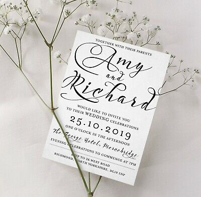 Personalised Rustic or Luxury White Wedding Invitations Pack of 25