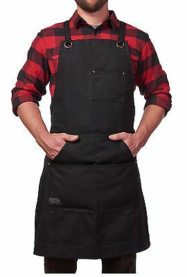 Heavy Duty Waxed Canvas Work Apron w/ Tool Pockets Black  Adjustable Versatile