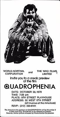THE WHO Quadrophenia Movie Sneak Preview Handbill Flyer 1979 NYC
