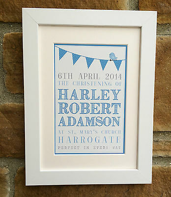 Personalised Christening Framed Print, Boy and Girl, Perfect Gift