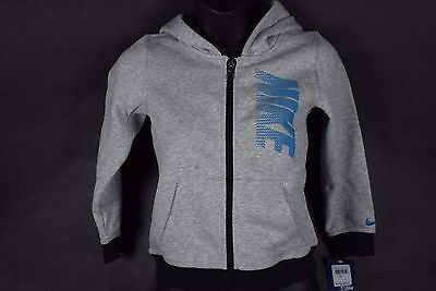 NWT! $44  Toddler Boys Nike Full Zip Hoodie 86A289-GK6 Gray Blue sz 4T-7T