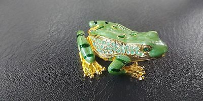 Enamel Frog Trinket Box small Green Gold Rhinestone accents