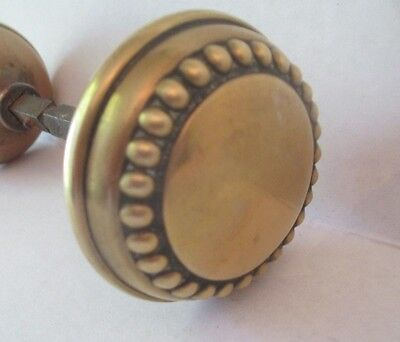 Vintage Ornate solid Brass Door Knob Set Antique Raised Bead Design SALVAGE PART