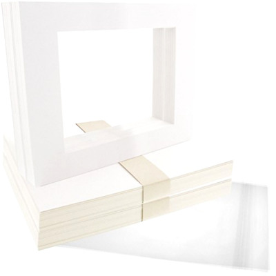 Picture Mat Matte Set US Art Supply Art White Pack of 50 with Clear Sleeve Bag