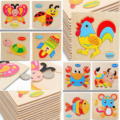 Hot Educational Toy Puzzle Cartoon For Baby Wooden Blocks Animals Kid Children
