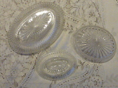 Lot Of 3 Assorted Oval Bowls Moulded Glass