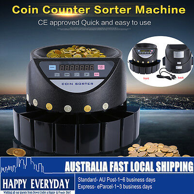 Coin Counter Australian Sorter Electronic Automatic Money Counting Machine NEW