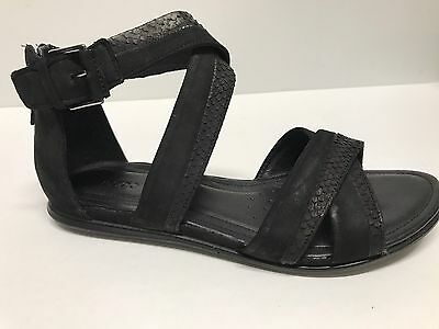 e1cb4db3ca67 Nwb Ecco Touch Black Leather Zip Sandals Us 6- 6.5M  160 Display