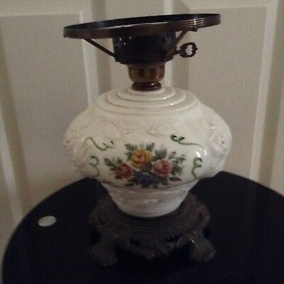 Antique footed  lamp of vaseline glass beautiful floral with raised embossed
