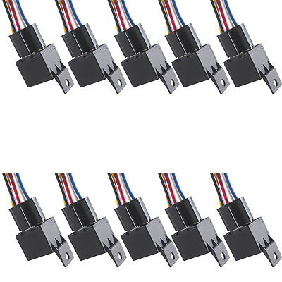 10 X Car Truck Auto DC 12V 40A Amp SPDT Relay & Socket 5Pin Relays 5 Wire