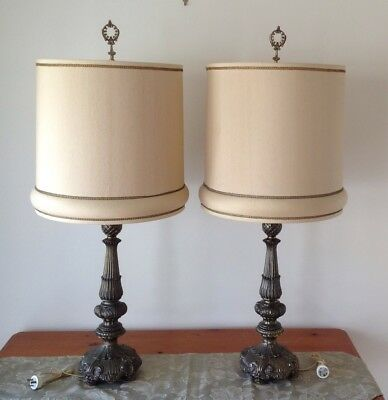 Pair Of French Provincial Style Table Lamps With Shades    Pick Up Melbourne