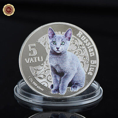 WR Vanuatu 5 Vatu Russian Blue Silver Collectible Coin Animal Cat Gift for Women