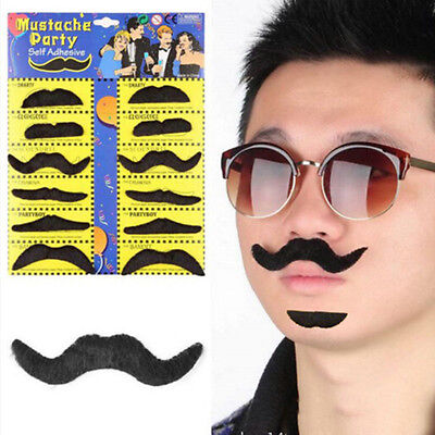 12Pcs/Pack Party Halloween Fake Mustache Funny Cosplay Photo Props Costume Beard