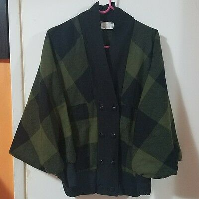 Vintage 80s women's double breasted green plaid dolman cardigan
