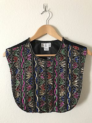 Vintage Malcolm Starr 1960s Womens Bib Collar - Sequin Gold Black - One size