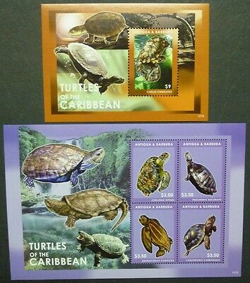 Antigua 2012 Schildkröten Turtles of the Caribbean 5053-56 Block 702 MNH