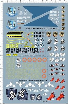 1/72 decals for F-4 F-14A Su-37 Ace combat (60939)