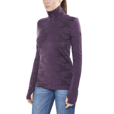 Icebreaker Vertex LS Half Zip Shirt Women flurry eggplant/jet heather 2017 lila