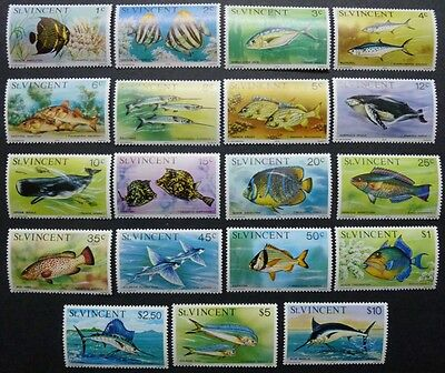 ST. VINCENT 1975 Meerestiere Fische Fishes Pesci Poissons 383-401 I ** MNH
