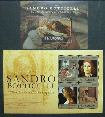 ST. VINCENT 2010 Gemälde Paintings Botticelli Maler 6826-29 + Bl.700 ** MNH