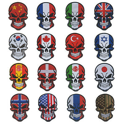 Embroidered National Flag Skull Military Tactical Morale Hook Loop Patch Badge