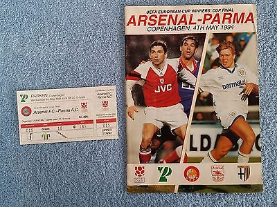 1994 - CUP WINNERS CUP FINAL PROGRAMME + MATCH TICKET - ARSENAL v PARMA
