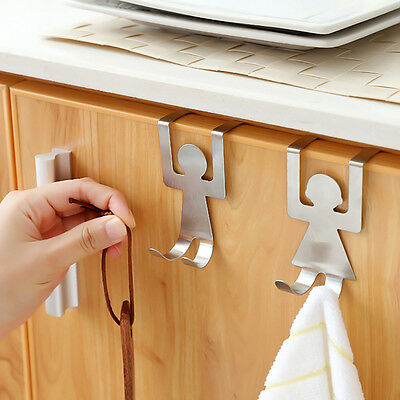 2pcs Over Door Hook Stainless Kitchen Cabinet Clothes Hanger Organizer Reliable