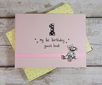 First Birthday Party Sign Memory Guestbook Pink or Blue Teddy Bear Lined Pages