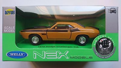 Welly 1970 Dodge Challenger T/a Yellow 1:34 Die Cast Metal Model New In Box