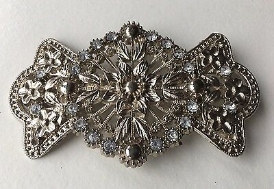 Vintage Bow Shaped Costume Belt Buckle - Filigree Beautiful Retro Jewellery