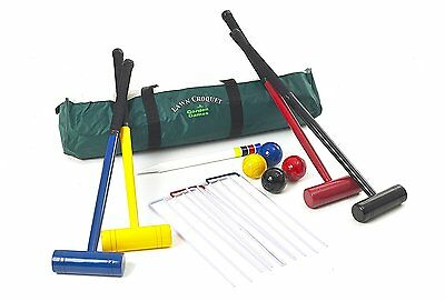 Garden Games Lawn Croquet Set - Four Player with 77cm Long Mallets in a strong