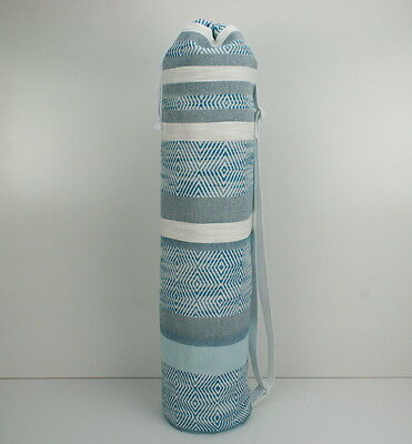 Blue and White Cotton Yoga Pilates Mat Bag