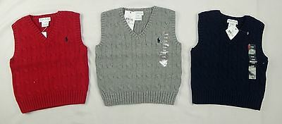 RALPH LAUREN BABY BOYS SWEATER VEST, CABLE-KNIT SIZES 12, 18, 24 months