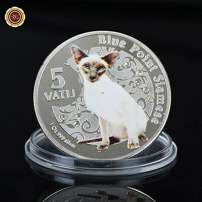 WR Vanuatu 5 Vatu 1 Oz 999 Blue Point Siamese Silver Coin Christmas Gift For Her
