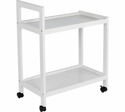 HOME Tea Trolley, Sturdy, Lightweight and Multipurpose 75x60x34 cm - White