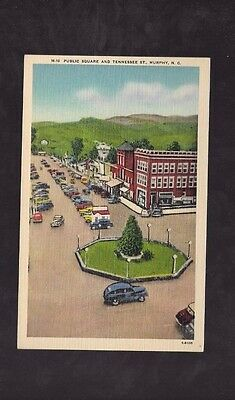 Vintage Postcard Linen Public Square & Tennessee St Murphy N C         Old Cars