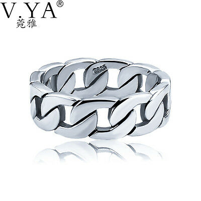 V.YA 100% 925 Sterling Silver Ring Punk Ring Cycle Chain Finger Rings for Men...