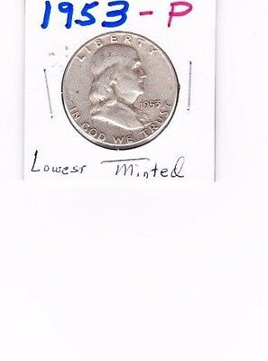 1953-P Franklin Half Dollar 90% SILVER, fewest minted this entire series!