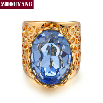 Luxury Gold-Color Hollow-out Big Blue Crystal Ring Fashion Cubic Zirconia Jew...